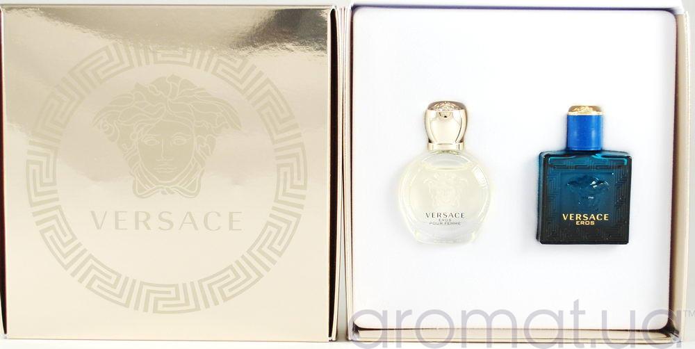 Подарочный набор миниатюр Versace Eros Pour Femme eau de Parfum 5ml+Versace Eros for Men 5ml
