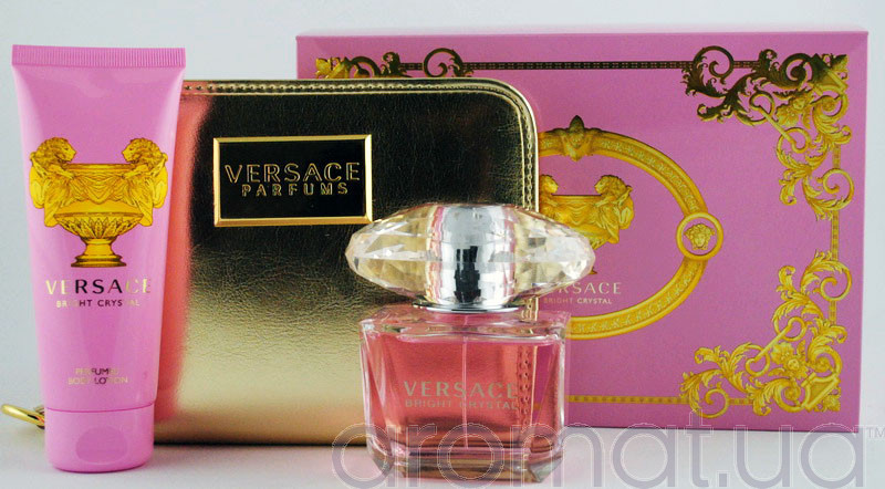 Versace Bright Crystal Набор edt 90ml+b/lotion 100ml+Косметичка