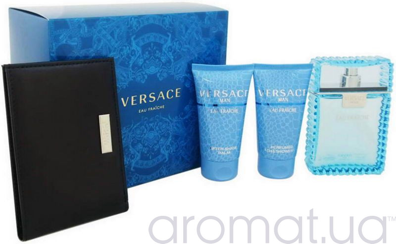 Versace Man Eau Fraiche Набор edt 100ml+50ml ash/bal+50ml sh/gel+визитница
