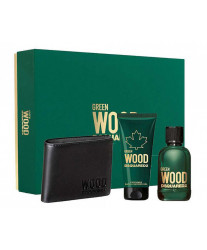 Dsquared2 Green Wood pour Homme Набор edt 100ml+sh/gel 100ml+Кошелек